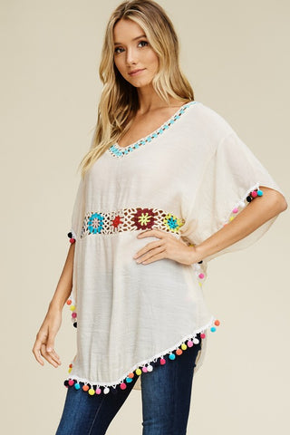 Crochet Dolman Sleeved Tunic - Cream