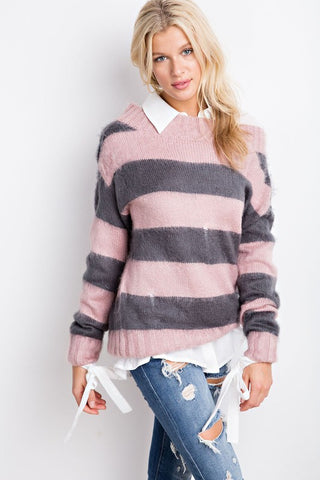 Distressed Fuzzy Knit Sweater - Mauve and Grey