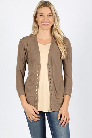Snap Up 3/4 Sleeve Cardigan - Mocha
