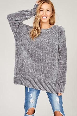 Cozy Pullover Velvet Yarn Sweater - Gray