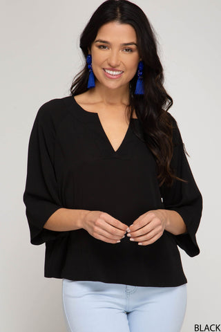 Wide Sleeve V-Neck Top - Black