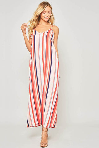 Summer Breeze Striped Maxi Dress - Red and White