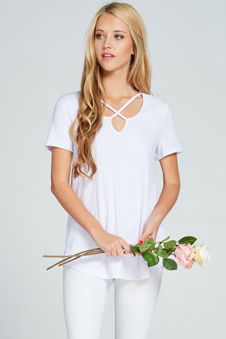 Criss Cross Ribbed Top - White