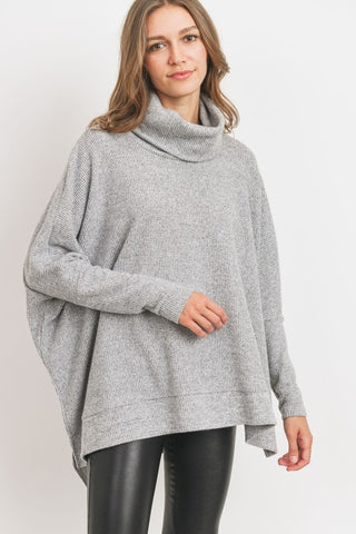 Thermal Knit Dolman Sleeve Turtleneck - Heather Gray