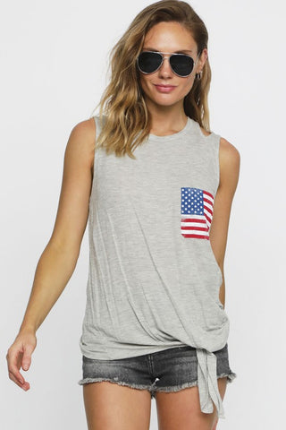 American Flag Tank Top - Heather Gray