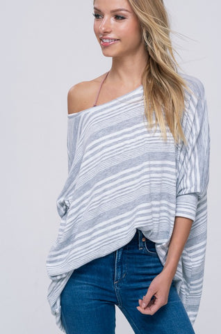 Striped Spring Sweater - Gray