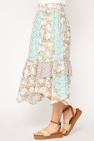Spring Floral Skirt - Light Blue Mix