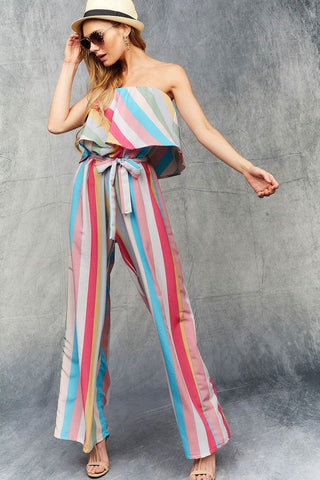 Strapless Rainbow Stripes Jumpsuit - Pink