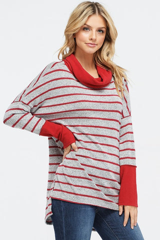 Cowl Neck Striped Top - Red