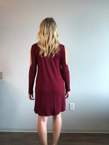Cold Shoulder Swing Dress - Burgundy