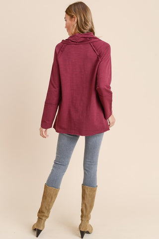 Cozy Cowl Neck Tunic - Grape