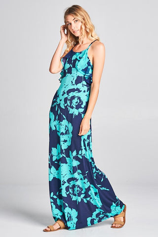 Ruffle Detail Floral Maxi Dress - Mint and Navy