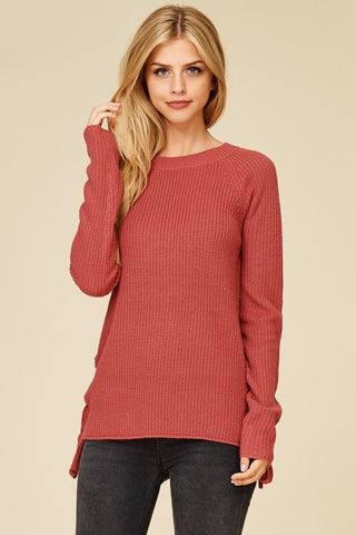 Side Lace Up Sweater - Rose