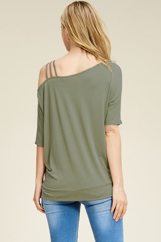Half Sleeve Asymmetrical Cold Shoulder Top - Olive