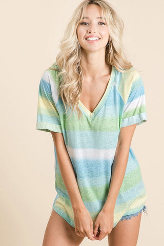 Candy Striped V-Neck Top - Lime