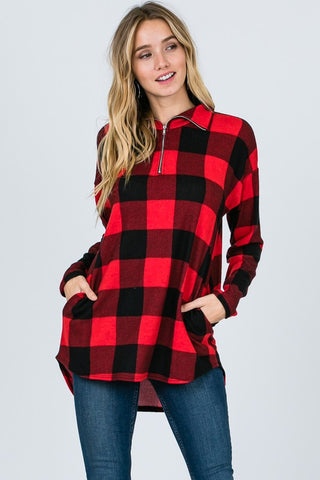 Zip Up Buffalo Plaid Top