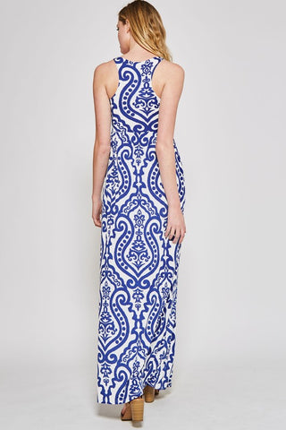 Garden Party Maxi Dress - Royal and Ivory Damask