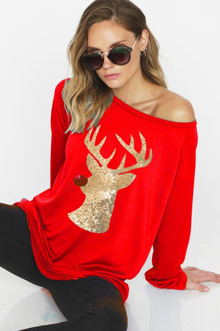 Sequined Reindeer Sweatshirt - Red