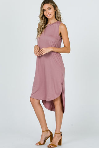 Cupro Sleeveless Dress - Mauve