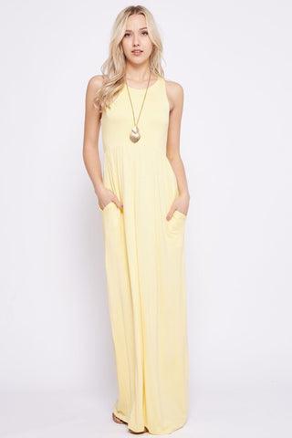 Solid Racerback Maxi Dress - Banana