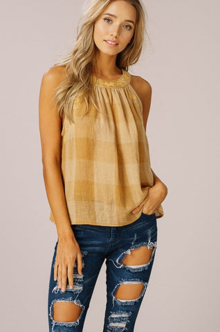 Checkered Halter Top - Mustard