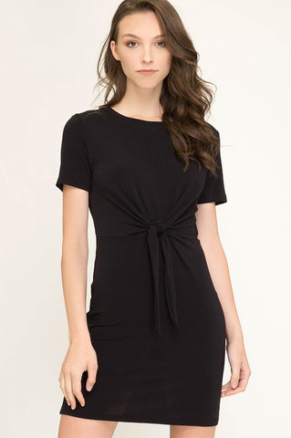 Fall Fitted Front Tie Dress - Black