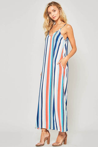 Summer Breeze Striped Maxi Dress - Navy and White