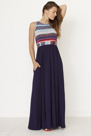 Aztec Print Dress - Navy