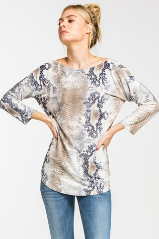 Scoop Back Printed Top -