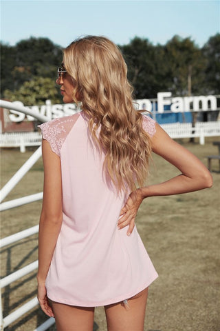 Cap Sleeve Lace Top - Pink