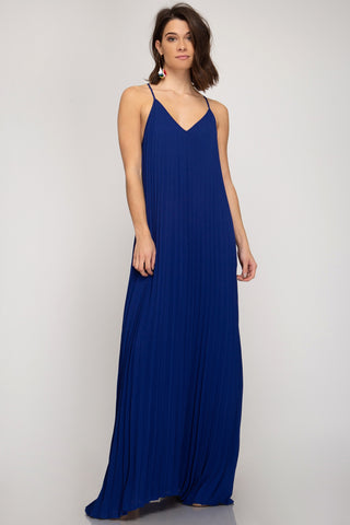 Pleated Maxi Dress - Royal