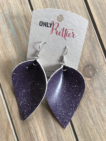 Lightweight Handmade Leather Earrings - Purple Stardust