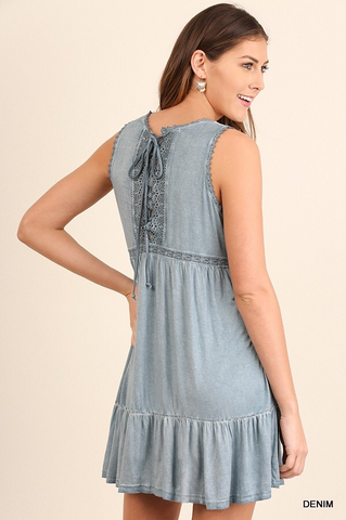 Lace Trim Sleeveless Dress - Denim