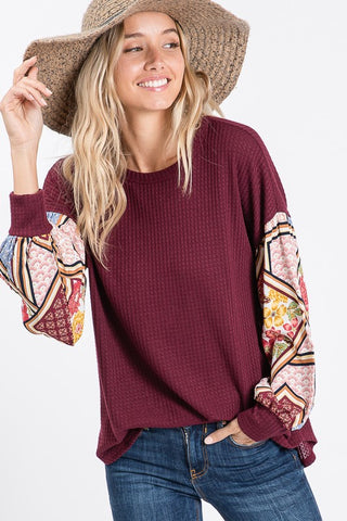 Boho Bishop Sleeve Top - Burgundy