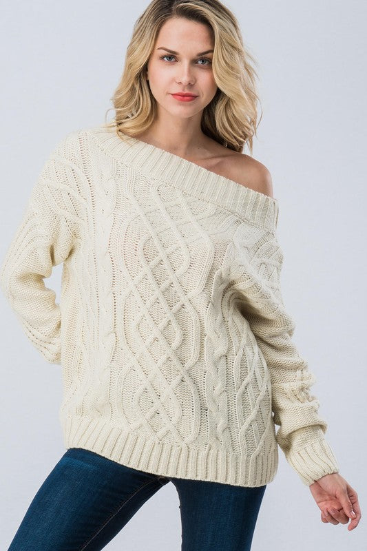 Cable Knit Off Shoulder Sweater Ivory Blue Chic Boutique