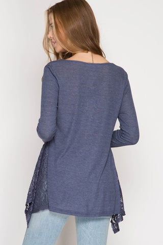 Lace Detail Ribbed Top - Navy