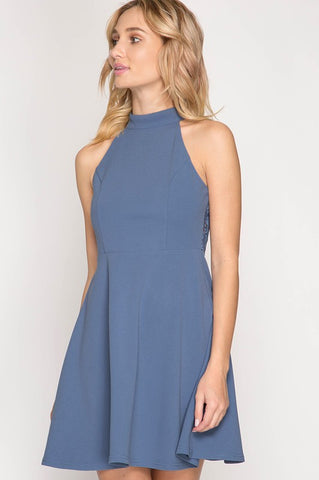 Halter Flair Dress - Dusty Blue