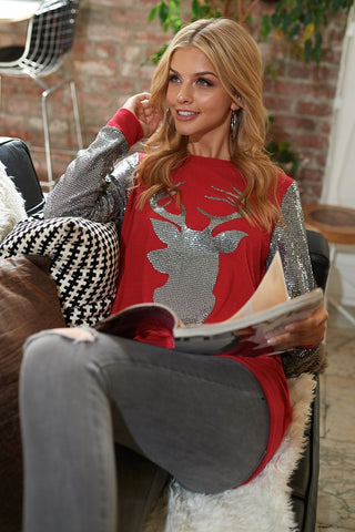 Sequined Reindeer Top - Red
