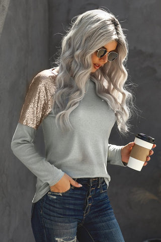Sequined Shoulder Tunic Top - Grey