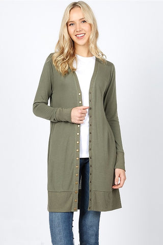 Long Snap Up Cardigan - Olive