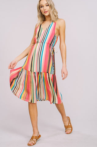 Tropical Striped Midi Dress
