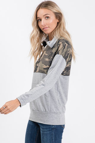 Zip Up Camo Top - Gray