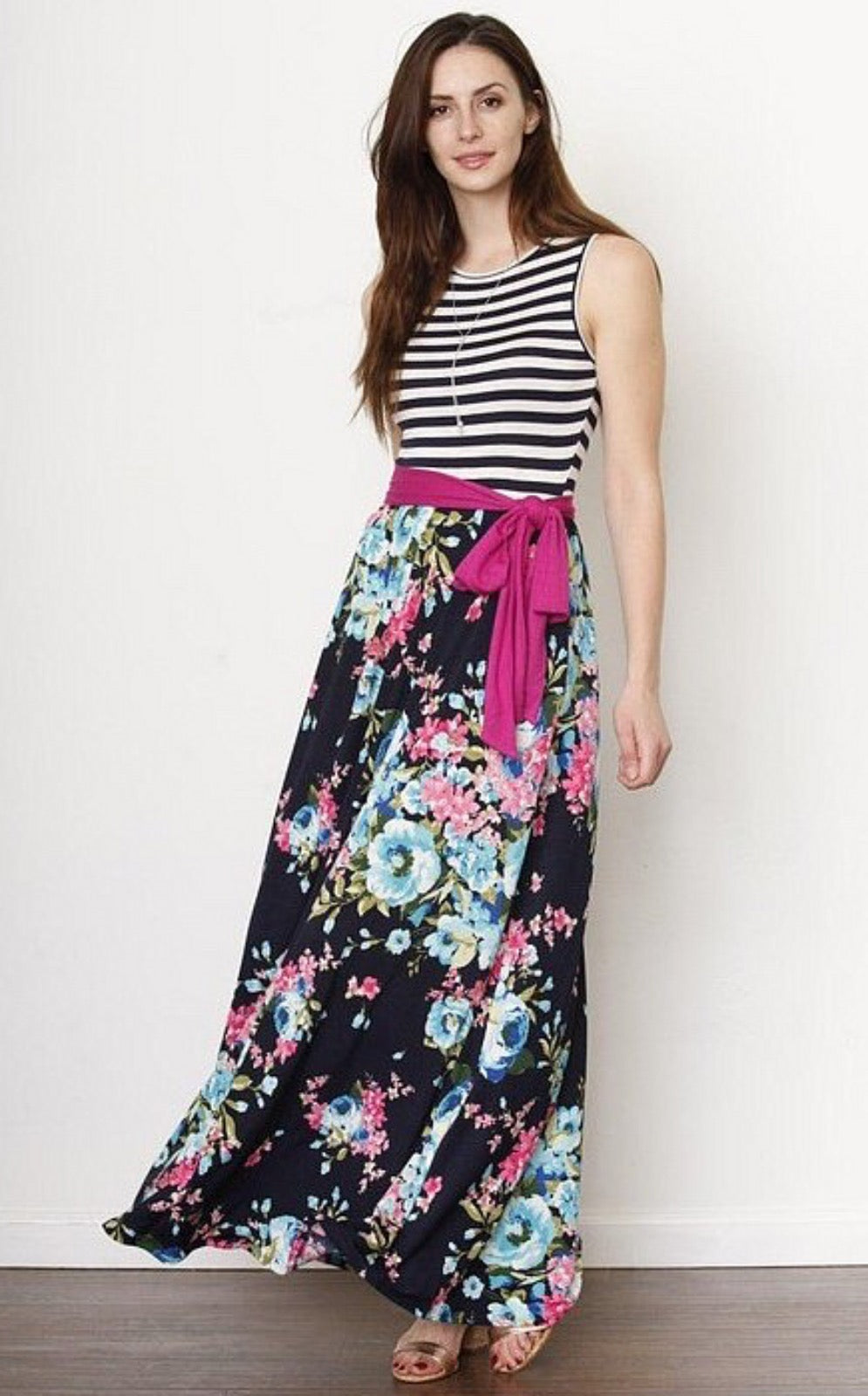 Spring Flowers Tank Dress Striped Navy Blue Chic Boutique