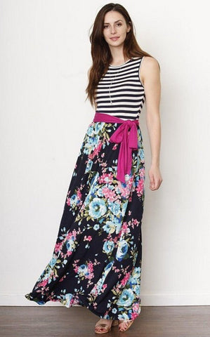 Spring Flowers Tank Dress - Striped Navy
