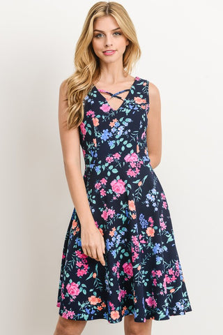 Floral Swing Dress - Navy