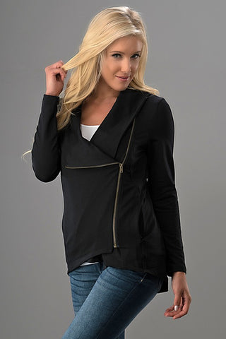 Asymmetrical Zip Up Fleece Jacket - Black
