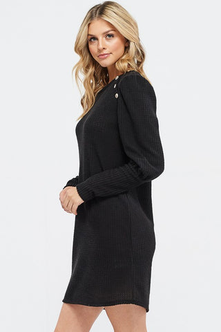 Puff Sleeve Dress with Button Detail - Black