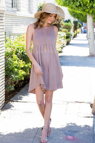 Simple Tank Style Dress - Mocha