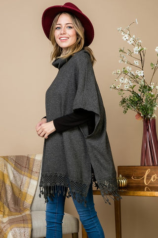 Lace Fringe Poncho Style Top - Charcoal