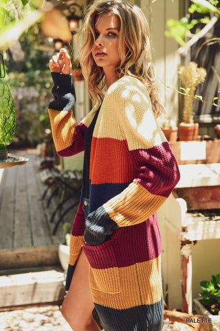 Fall Color Block Cardigan - Palette - Ships Thursday